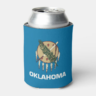 Can Cooler with flag of Oklahoma, USA.
