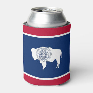 Can Cooler with flag of Wyoming State, USA.