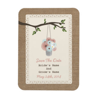 Can Of Daisies Burlap Inspired Save The Date Rectangle Magnets
