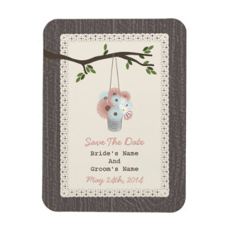 Can Of Daisies Wood Inspired Save The Date Rectangle Magnet