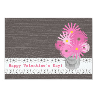 "Can Of Flowers Kids Classroom / School Valentine 3.5"" X 5"" Invitation Card"