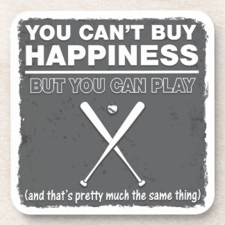 Can t Buy Happiness Baseball Drink Coaster
