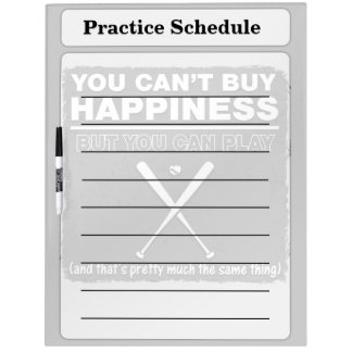 Can t Buy Happiness Baseball Dry Erase Whiteboard