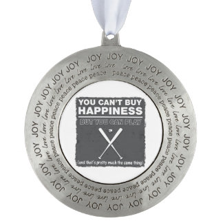 Can t Buy Happiness Baseball Round Pewter Ornament