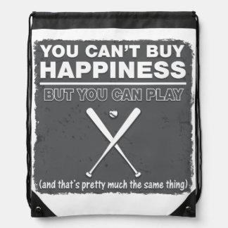 Can t Buy Happiness Baseball Drawstring Bag