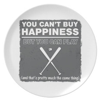 Can t Buy Happiness Baseball Dinner Plate