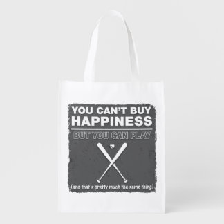 Can t Buy Happiness Baseball Reusable Grocery Bags