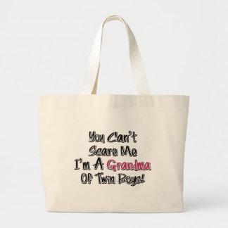 Can t Scare Me Grandma of Twin Boys Cute Quote Tote Bag