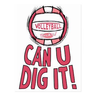 Can U Dig It Volleyball Pink Postcard