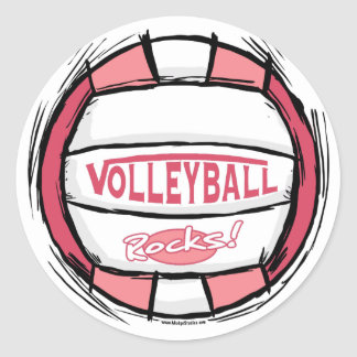 Can U Dig It Volleyball Pink Round Sticker