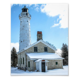 Cana Island Lighthouse in Winter Photography Print Photo