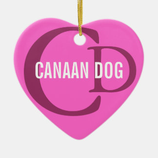 Canaan Dog Breed Monogram Ceramic Heart Decoration