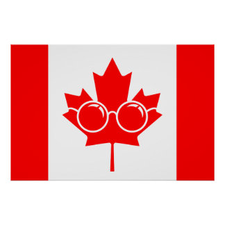 Canad flag with glasses on maple poster