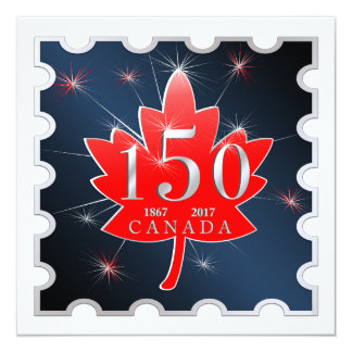 Canada 150 Birthday Celebration Maple Leaf 13 Cm X 13 Cm Square Invitation Card