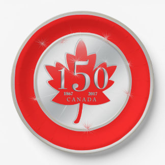 Canada 150 Birthday Celebration Maple Leaf Paper Plate