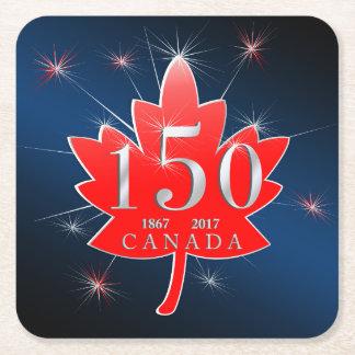 Canada 150 Birthday Celebration Maple Leaf Square Paper Coaster