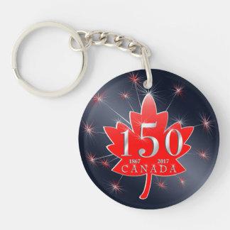 Canada 150 Commemorative Maple Leaf & Fireworks Double-Sided Round Acrylic Key Ring