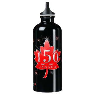 Canada 150 Fireworks Maple Leaf Coat of Arms Water Bottle