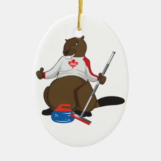 Canada 150 in 2017 Beaver Curling Main Ceramic Oval Decoration