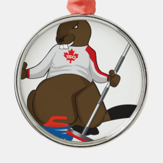 Canada 150 in 2017 Beaver Curling Main Christmas Ornament