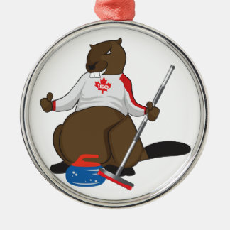 Canada 150 in 2017 Beaver Curling Main Silver-Colored Round Decoration