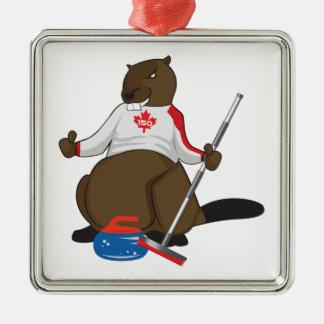 Canada 150 in 2017 Beaver Curling Main Silver-Colored Square Decoration