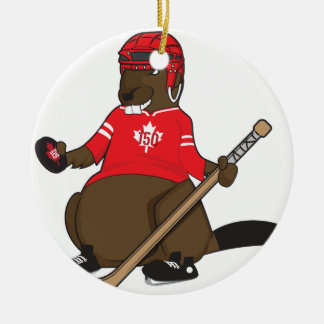 Canada 150 in 2017 Beaver Hockey Christmas Ornament