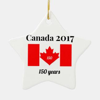 Canada 150 in 2017 Heart Flag Christmas Ornament