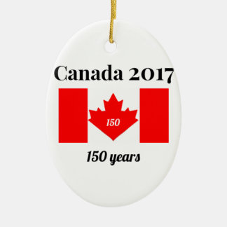 Canada 150 in 2017 Heart Flag Christmas Ornament
