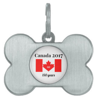 Canada 150 in 2017 Heart Flag Pet Name Tag