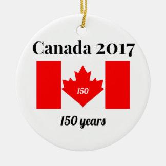 Canada 150 in 2017 Heart Flag Round Ceramic Decoration