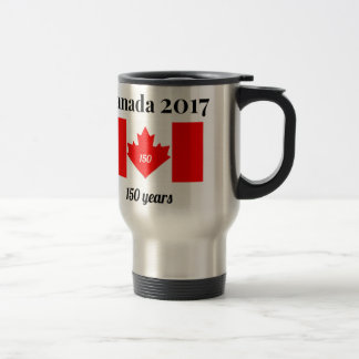 Canada 150 in 2017 Heart Flag Travel Mug