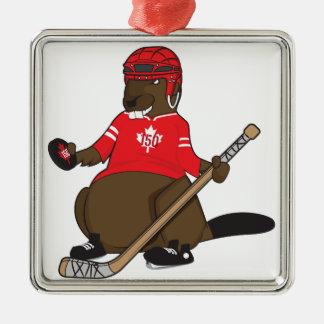 Canada 150 in 2017 Hockey Beaver Christmas Ornament