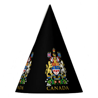 Canada 150 Lion & Unicorn Coat of Arms On Black Party Hat