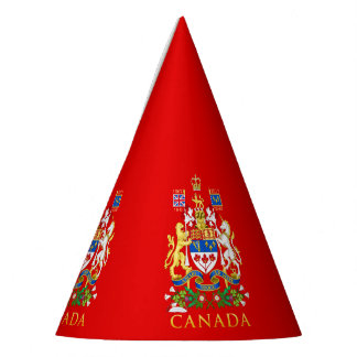 Canada 150 Lion & Unicorn Coat of Arms On Red Party Hat
