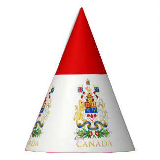 Canada 150 Lion & Unicorn Coat of Arms On White Party Hat