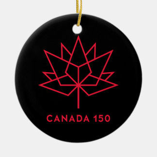Canada 150 Official Logo - Black and Red Christmas Ornament