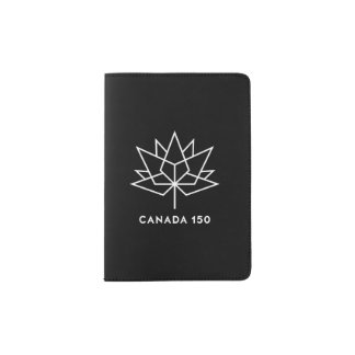 Canada 150 Official Logo - Black and White Passport Holder