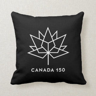 Canada 150 Official Logo - Black and White Throw Pillow