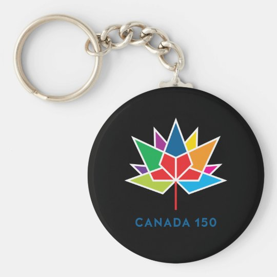 Canada 150 Official Logo - Multicolor and Black Basic Round Button Key Ring