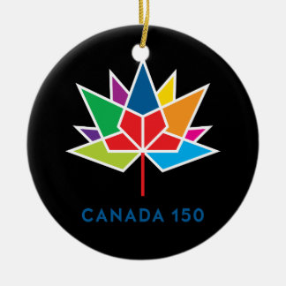 Canada 150 Official Logo - Multicolor and Black Round Ceramic Decoration