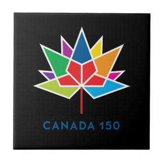 Canada 150 Official Logo - Multicolor and Black Tile