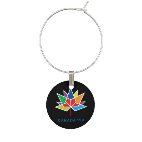 Canada 150 Official Logo - Multicolor and Black Wine Charm