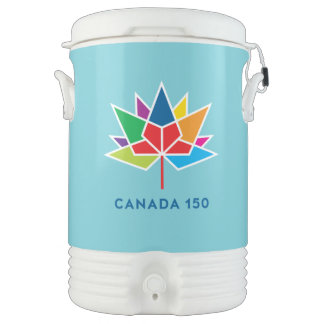 Canada 150 Official Logo - Multicolor and Blue Drinks Cooler