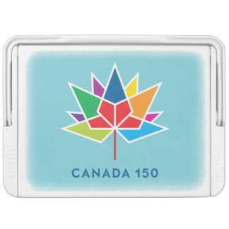 Canada 150 Official Logo - Multicolor and Blue Igloo Cooler