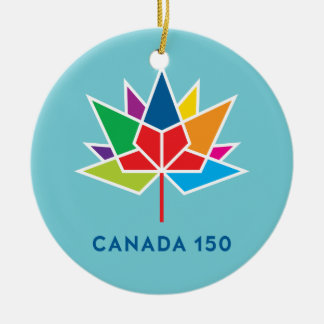 Canada 150 Official Logo - Multicolor and Blue Round Ceramic Decoration