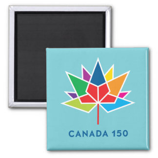 Canada 150 Official Logo - Multicolor and Blue Square Magnet