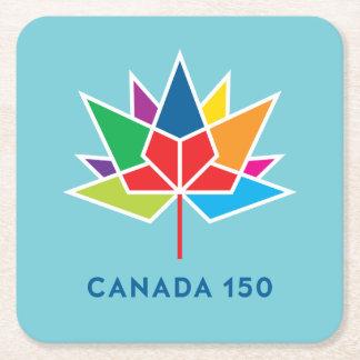 Canada 150 Official Logo - Multicolor and Blue Square Paper Coaster