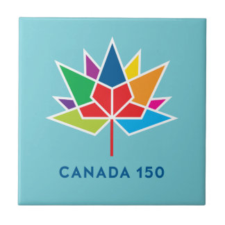 Canada 150 Official Logo - Multicolor and Blue Tile