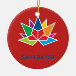 Canada 150 Official Logo - Multicolor and Red Round Ceramic Decoration